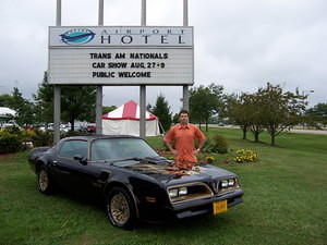 Me and my ride at the 2004 Trans Am Nationals.  My wife and I drove the TA 1,100 miles round trip from Maryland, and it ran really strong.  That's Fun!